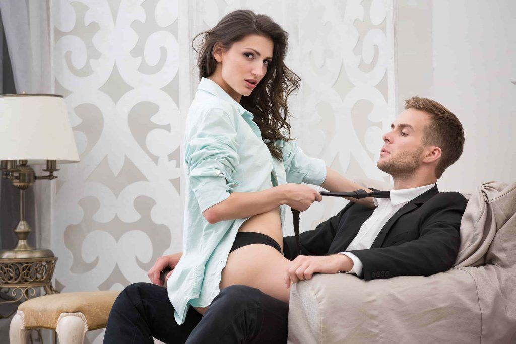 Escort sex on couch